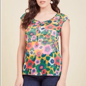 ModCloth Bright Floral Cap Sleeve Semi Sheer Top